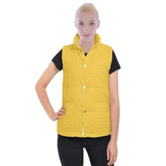Saffron Yellow Color Polka Dots Women s Button Up Vest by SpinnyChairDesigns