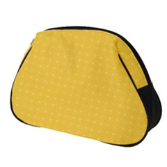 Saffron Yellow Color Polka Dots Full Print Accessory Pouch (small) by SpinnyChairDesigns