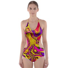Colorful Boho Swirls Pattern Cut-out One Piece Swimsuit by SpinnyChairDesigns