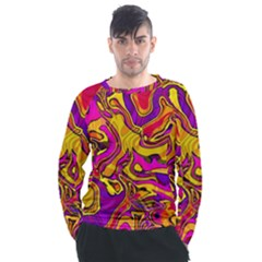 Colorful Boho Swirls Pattern Men s Long Sleeve Raglan Tee