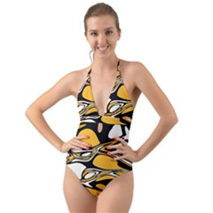 Black Yellow White Abstract Art Halter Cut-out One Piece Swimsuit by SpinnyChairDesigns