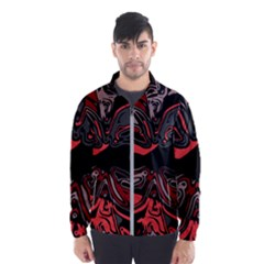 Red Black Grey Abstract Art Men s Windbreaker by SpinnyChairDesigns