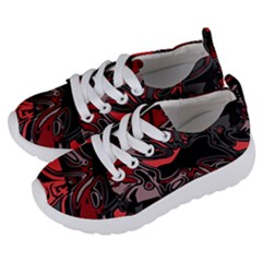 Red Black Grey Abstract Art Kids  Lightweight Sports Shoes by SpinnyChairDesigns