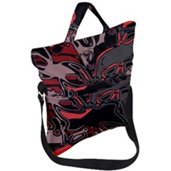 Red Black Grey Abstract Art Fold Over Handle Tote Bag