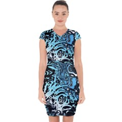 Black Blue White Abstract Art Capsleeve Drawstring Dress