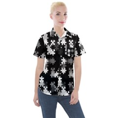 Black And White Jigsaw Puzzle Pattern Women s Short Sleeve Pocket Shirt