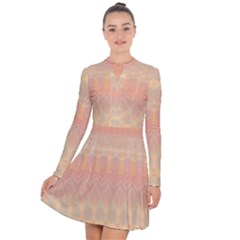 Boho Soft Peach Pattern Long Sleeve Panel Dress