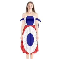 National Cockade Of France  Shoulder Tie Bardot Midi Dress by abbeyz71
