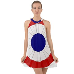 National Cockade Of France  Halter Tie Back Chiffon Dress