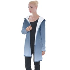 Faded Denim Blue Ombre Gradient Longline Hooded Cardigan by SpinnyChairDesigns