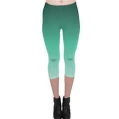 Biscay Green Gradient Ombre Capri Leggings  by SpinnyChairDesigns