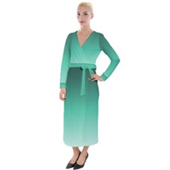 Biscay Green Gradient Ombre Velvet Maxi Wrap Dress by SpinnyChairDesigns