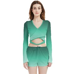 Biscay Green Gradient Ombre Velvet Wrap Crop Top by SpinnyChairDesigns