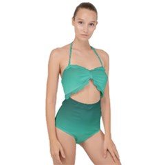Biscay Green Gradient Ombre Scallop Top Cut Out Swimsuit by SpinnyChairDesigns