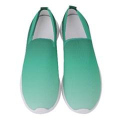 Biscay Green Gradient Ombre Women s Slip On Sneakers by SpinnyChairDesigns