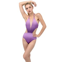 Purple Gradient Ombre Plunging Cut Out Swimsuit