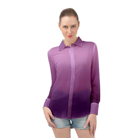 Purple Gradient Ombre Long Sleeve Chiffon Shirt by SpinnyChairDesigns