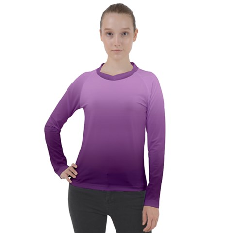 Purple Gradient Ombre Women s Pique Long Sleeve Tee by SpinnyChairDesigns