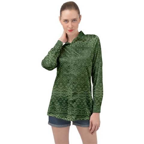 Boho Fern Green Pattern Long Sleeve Satin Shirt by SpinnyChairDesigns