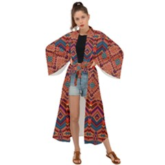 Boho Light Brown Blue Pattern Maxi Kimono by SpinnyChairDesigns