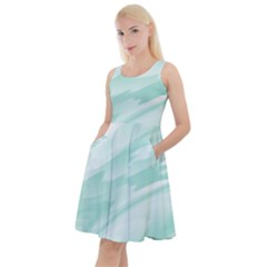 Biscay Green White Feathered Swoosh Knee Length Skater Dress With Pockets