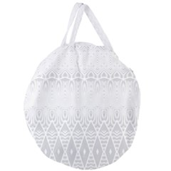 Boho White Wedding Pattern Giant Round Zipper Tote