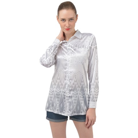 Boho White Wedding Pattern Long Sleeve Satin Shirt by SpinnyChairDesigns