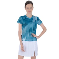 Cerulean Blue Geometric Patterns Women s Sports Top