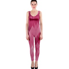 Blush Pink Geometric Pattern One Piece Catsuit