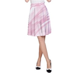 Pastel Pink Feathered Pattern A-line Skirt