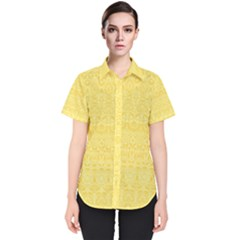 Boho Saffron Yellow Color Women s Short Sleeve Shirt