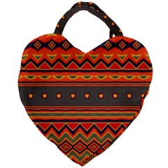Boho Orange Tribal Pattern Giant Heart Shaped Tote by SpinnyChairDesigns