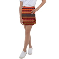 Boho Orange Tribal Pattern Kids  Tennis Skirt by SpinnyChairDesigns