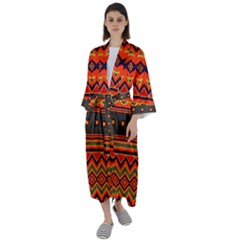 Boho Orange Tribal Pattern Maxi Satin Kimono by SpinnyChairDesigns