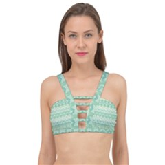 Boho Biscay Green Pattern Cage Up Bikini Top by SpinnyChairDesigns