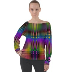 Abstract Psychedelic Pattern Off Shoulder Long Sleeve Velour Top