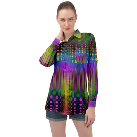 Abstract Psychedelic Pattern Long Sleeve Satin Shirt by SpinnyChairDesigns