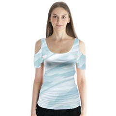 Light Blue Feathered Texture Butterfly Sleeve Cutout Tee