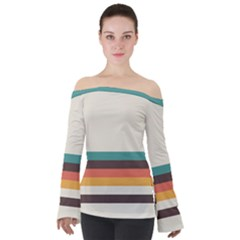 Classic Retro Stripes Off Shoulder Long Sleeve Top by tmsartbazaar