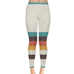 Classic Retro Stripes Inside Out Leggings by tmsartbazaar