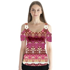 Boho Fuschia And Gold Pattern Butterfly Sleeve Cutout Tee