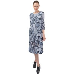Faded Blue Abstract Art Ruffle End Midi Chiffon Dress by SpinnyChairDesigns