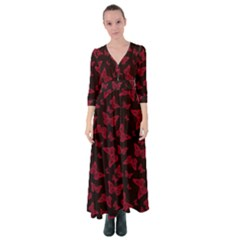 Red And Black Butterflies Button Up Maxi Dress