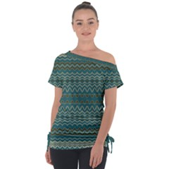 Boho Teal Green Stripes Tie-up Tee