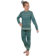 Boho Teal Green Stripes Kids  Long Sleeve Set