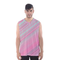 Turquoise And Pink Striped Men s Basketball Tank Top
