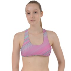 Turquoise And Pink Striped Criss Cross Racerback Sports Bra