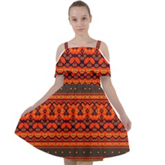 Boho Aztec Rust Orange Color Stripes Cut Out Shoulders Chiffon Dress