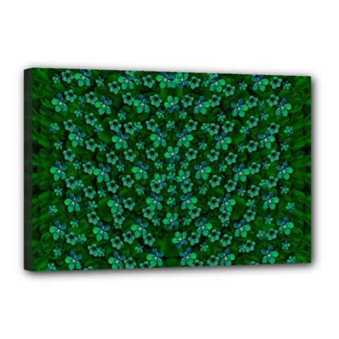 Leaf Forest And Blue Flowers In Peace Canvas 18  X 12  (stretched)