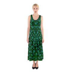 Leaf Forest And Blue Flowers In Peace Sleeveless Maxi Dress